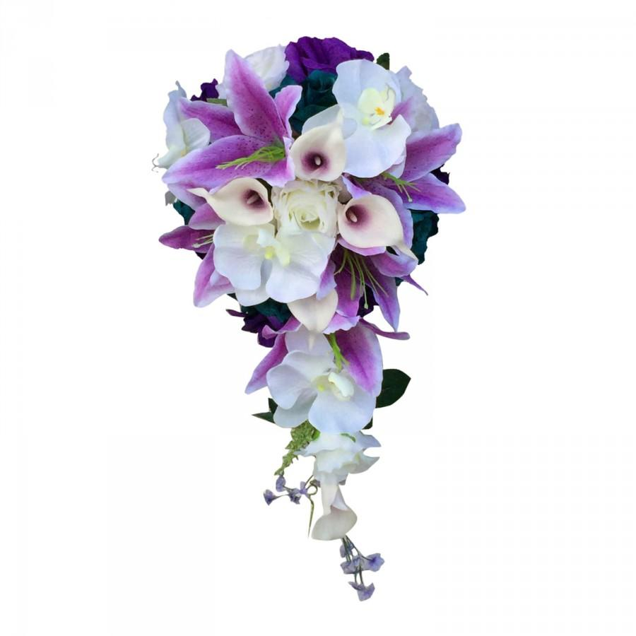 Свадьба - Large Cascade bouquet: Rose,calla lily,lily, orchid silk flowers.