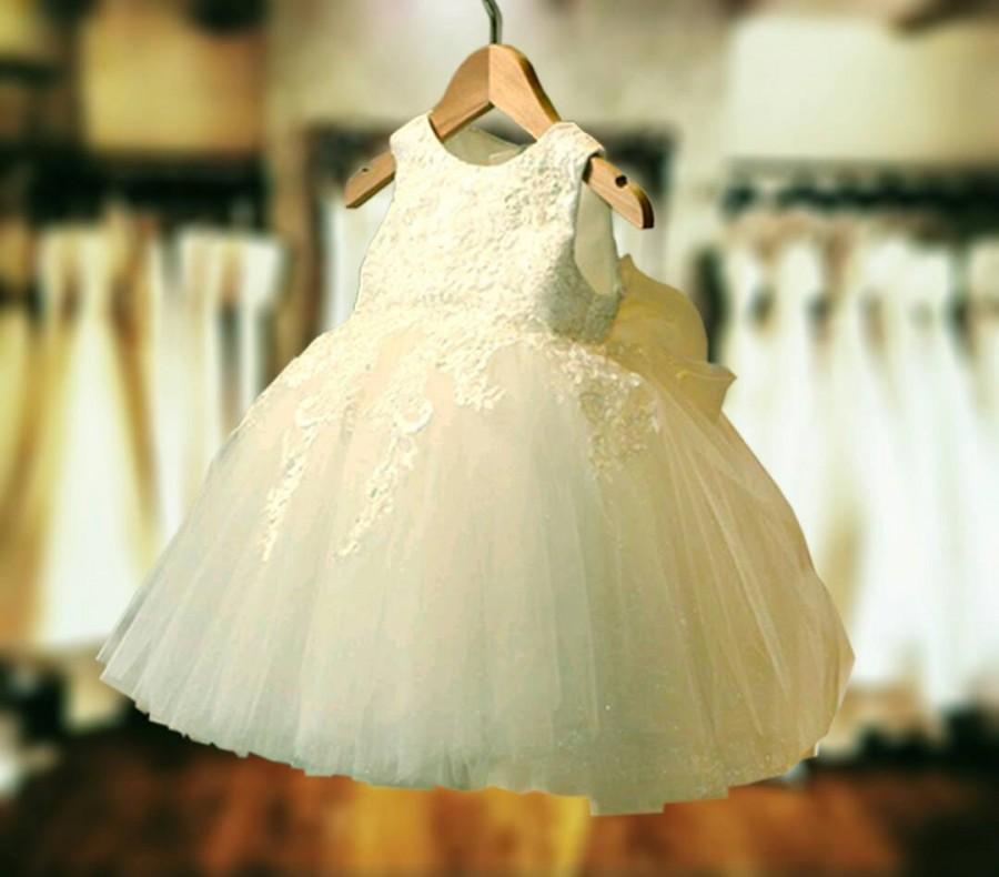 Свадьба - Beautifully Elegant Soft White Lace Tulle flowergirl Christening Baptism Girls Dress