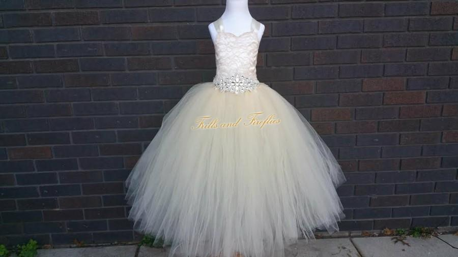 Свадьба - Champagne Corset Back Flower Girl Dress with Beautiful Rhinestone Belt- Lace Corset Style Flower Girl Tutu Dress- Size Baby up to Size 12