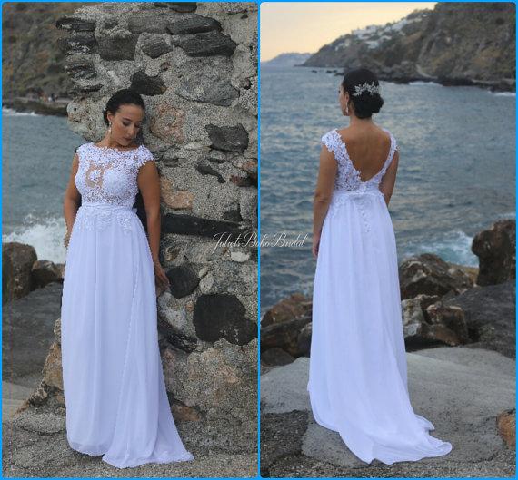 Свадьба - Lace wedding dress, Ivory wedding dress, Unique wedding dress, Boho wedding dress , White wedding dress, Beach wedding , Backless dress