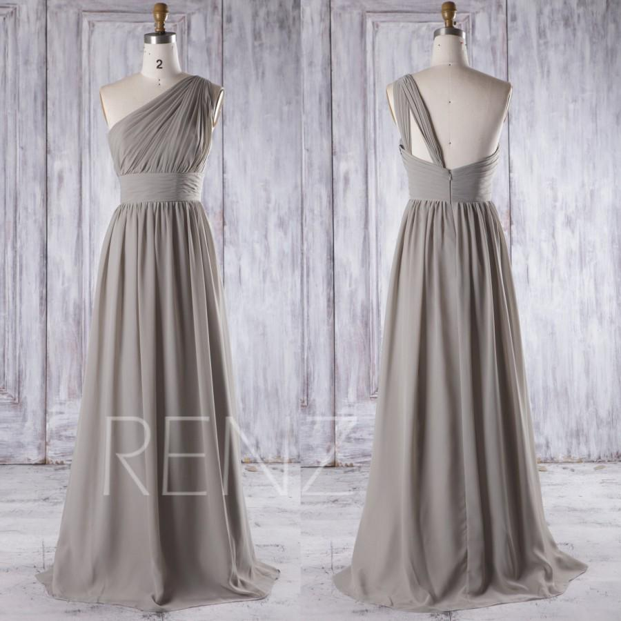 Mariage - 2016 Gray Chiffon Bridesmaid Dress Long, One Shoulder Illusion Neck Wedding Dress, Open Back Prom Dress, A Line Evening Dress Floor (T112D)