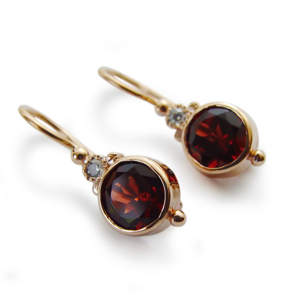 Round Gemstone Gold Earrings 14k Dangle Garnet Small Red Drop Vintage Wedding