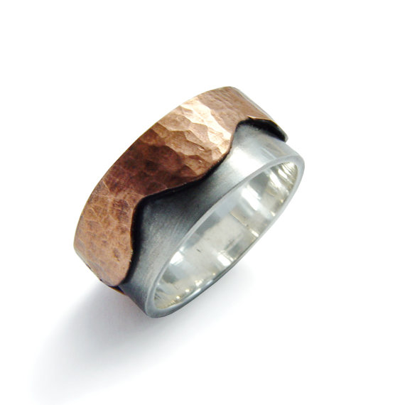 Wedding - Rustic Men two tone band, Hammered Copper, Wave shape band, Organic wedding band, Sterling silver Infinity ring, Zen mixed metals ring sale
