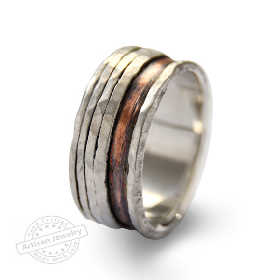 Rustic Men Wedding Band Silver Fixed Spinners Ring Modern Unisex Silver And