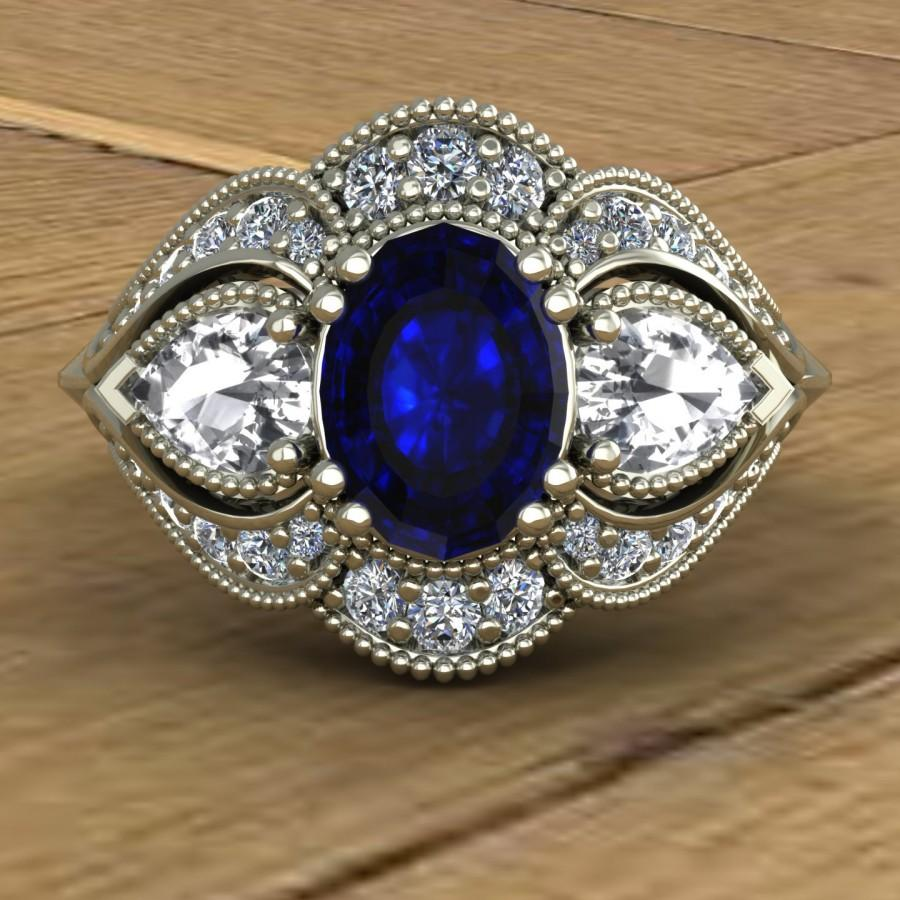 Mariage - Blue Sapphire Engagement Ring - White Sapphire and Diamonds - Oval with Pear Sides - 14k White Gold - An Original Design by Charles Babb