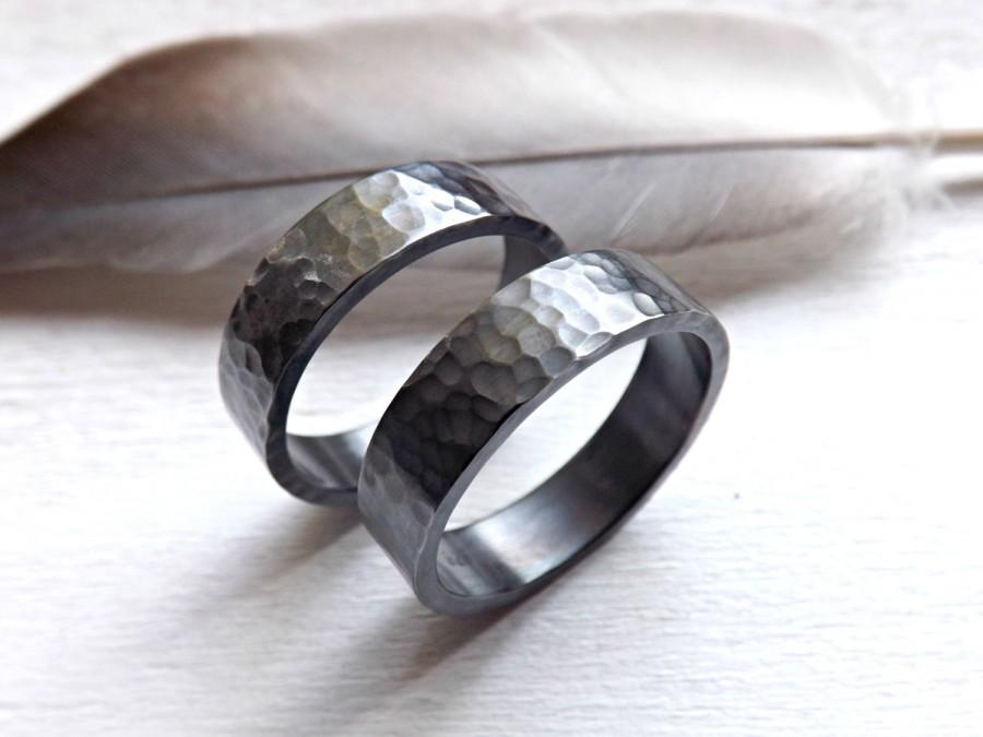 Black Silver Wedding Bands Matching Rings For Him And Her His And