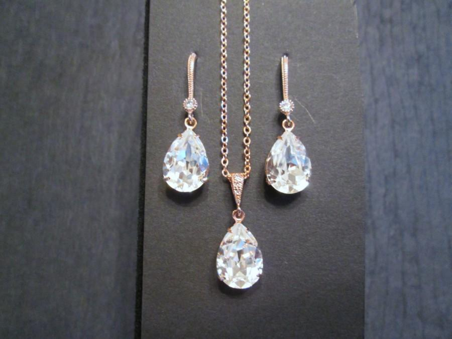 Свадьба - NEW Rose Gold Bridesmaid Jewelry Set/Swarovski Clear Crystal/Bridesmaid Set/Crystal Necklace/Swarovski Crystal Earrings/Bridal Jewelry