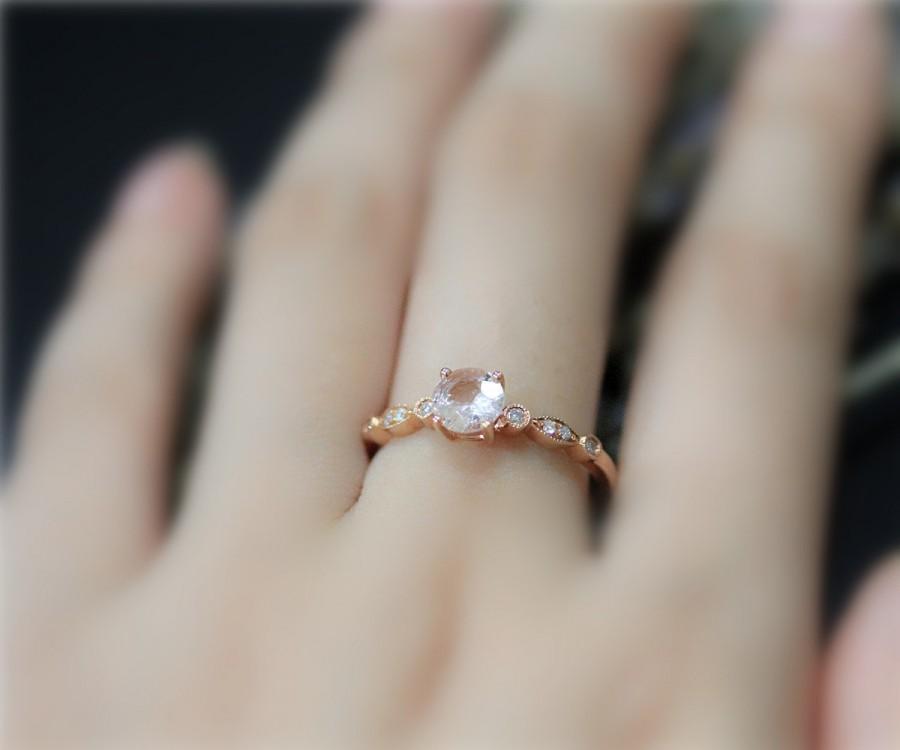 Свадьба - 6mm Round Natural Pink Morganite Ring Solid 14K Rose Gold ring Diamond Wedding Ring Milgrain Promise Ring Anniversary Ring EngagementRing