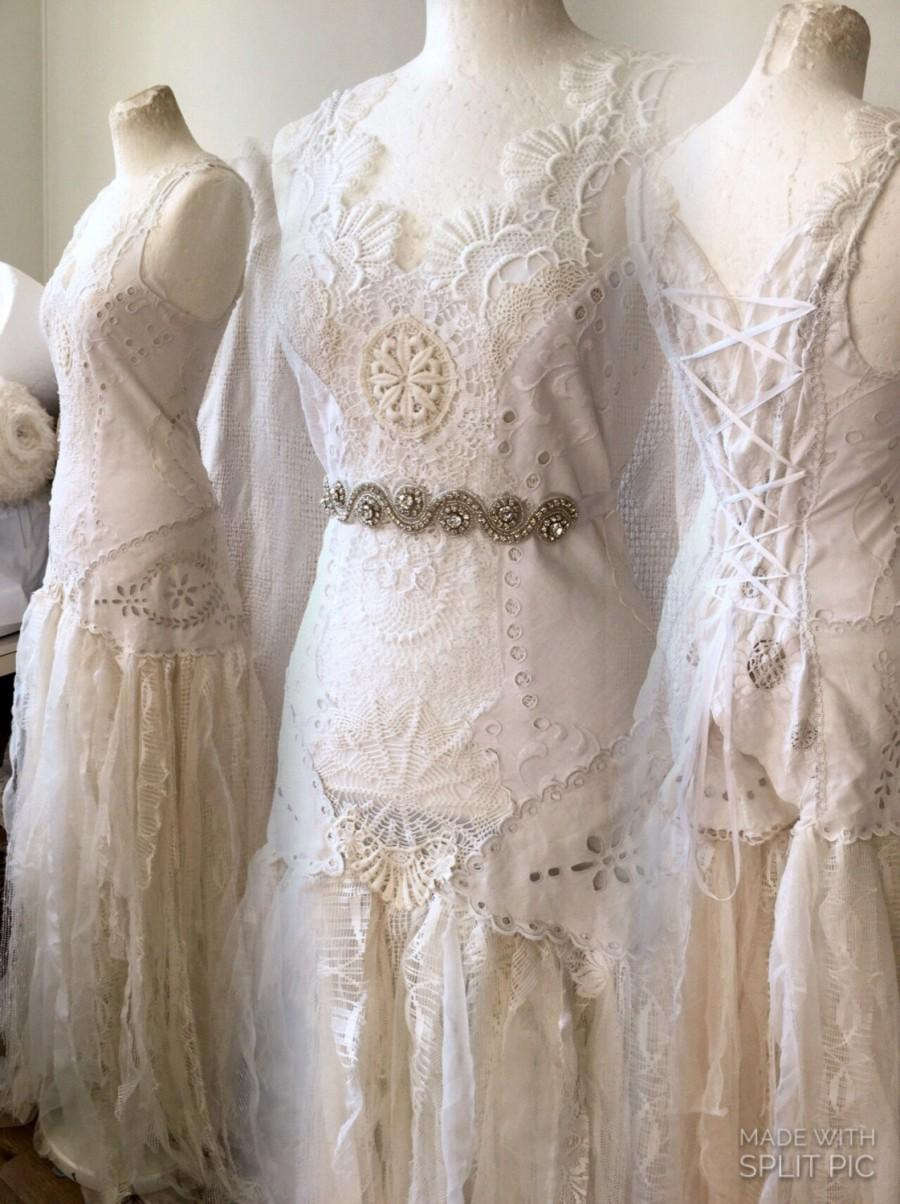 Bohemian fairy wedding dress bridal gown french lace for Bohemian wedding dress shops