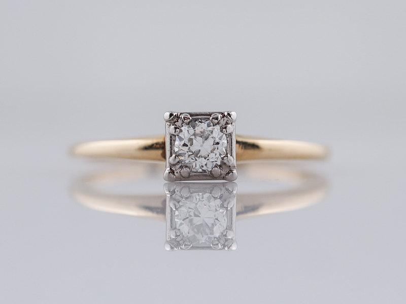 Свадьба - Antique Engagement Ring Art Deco .22ct Old European Cut in 14k Yellow & White Gold