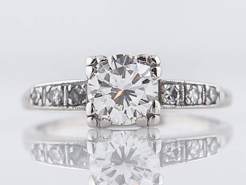 Свадьба - 1930's Engagement Ring Art Deco .83 Round Brilliant Cut Diamond in Platinum