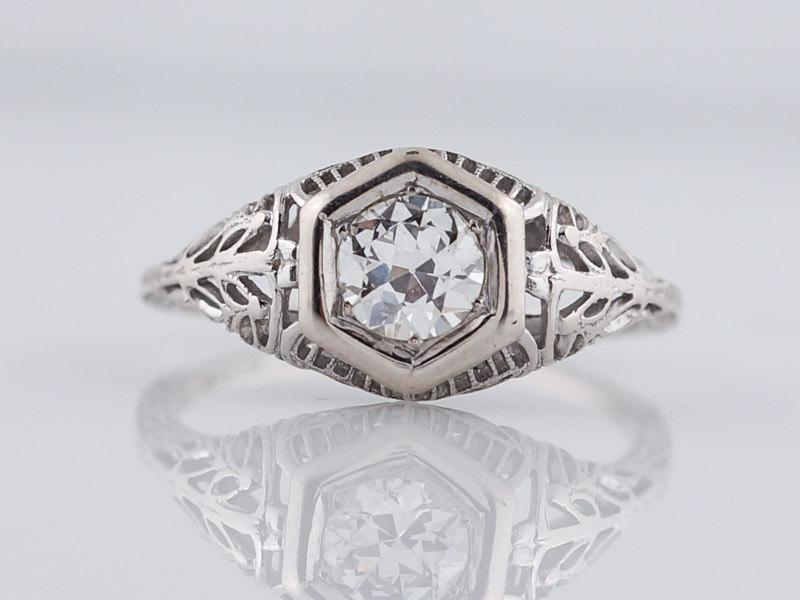 Свадьба - Antique Engagement Ring Art Deco .60ct Old European Cut Diamond in 18k White Gold