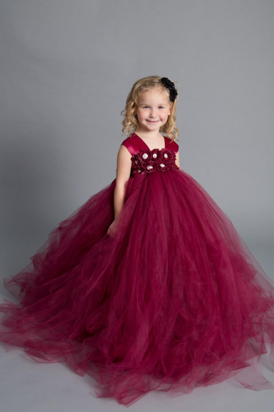 Wedding - Flower girl dress - tutu dress - tulle dress -Holiday dress - Pageant dress - wedding-Christmas dress-Princess dress -Wine girl flower dress