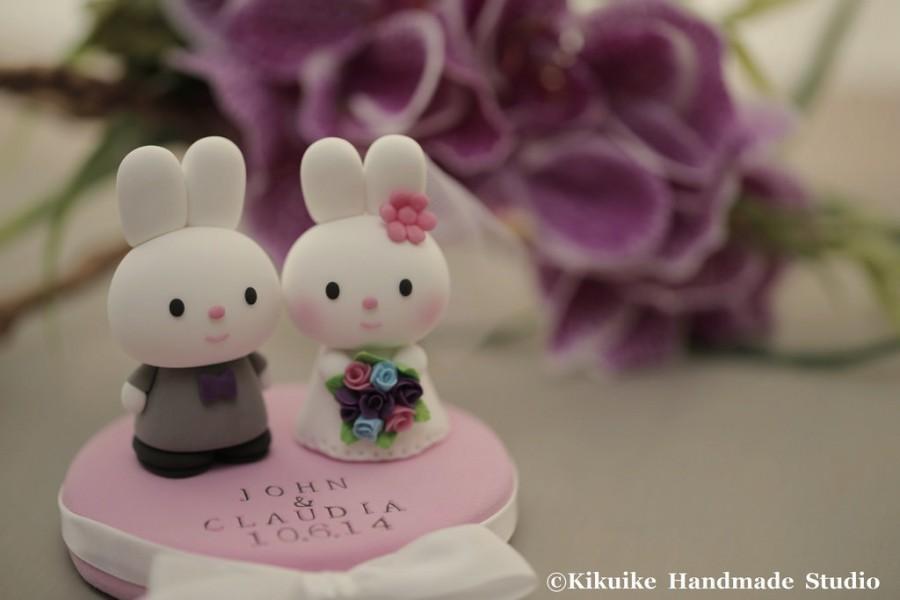 Свадьба - rabbit and bunny wedding cake topper---k923