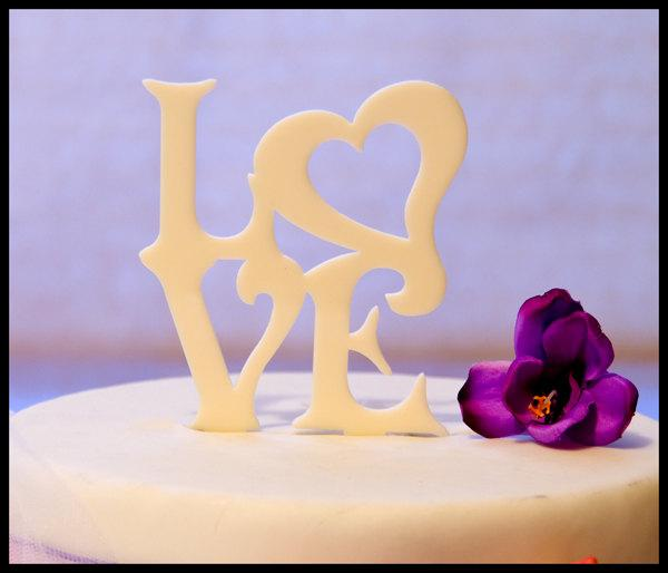 LOVE With Heart Wedding Cake Topper - LOVE With A Heart Cake Topper ...
