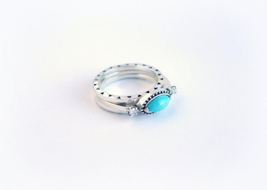 Свадьба - TURQUOISE & DIAMOND Engagement Ring. Engagement Ring by AnnKat Designs