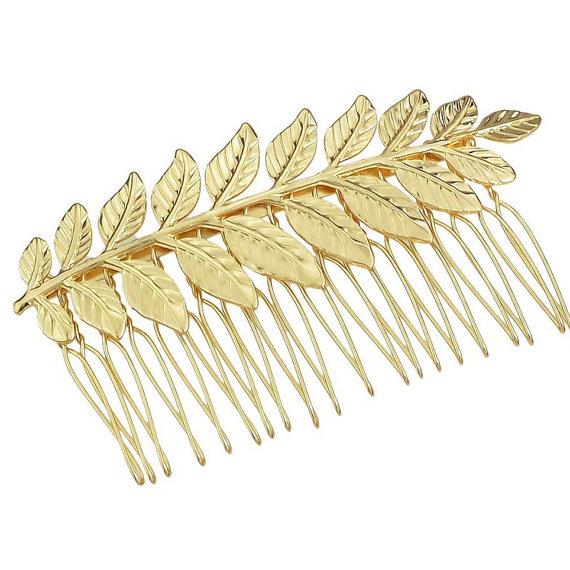 Wedding - Gold Leaf Hair Comb. Bridal Hair Comb, Leaf Headpiece, Wedding Hair Accessory, Woodland Hair Accessory, Gold Leaf Hair Comb