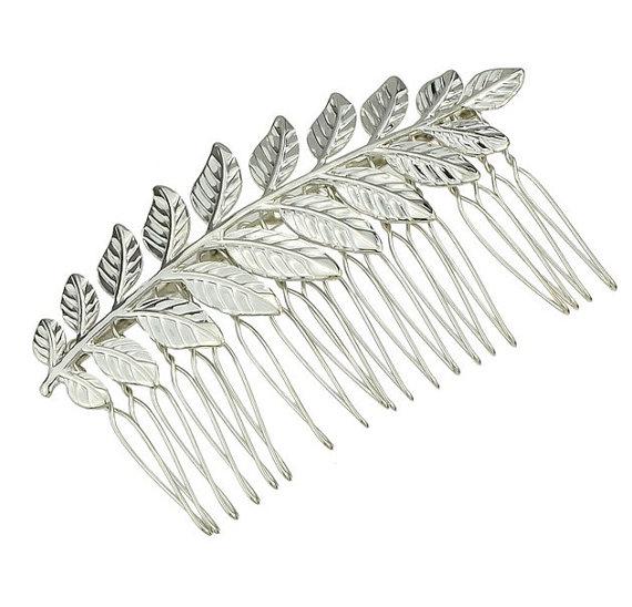 Wedding - Silver Leaf Hair Comb. Bridal Hair Comb, Leaf Headpiece, Wedding Hair Accessory, Woodland Hair Accessory, Silver Leaf Hair Comb