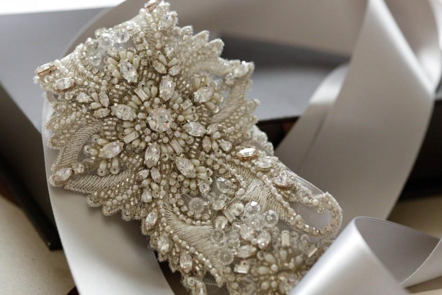 Wedding - Art Deco inspired bridal dress sash, Bridal belt, wedding sashes, bridal sashes, rhinestone sash- S53 (1 quantity ready to ship))