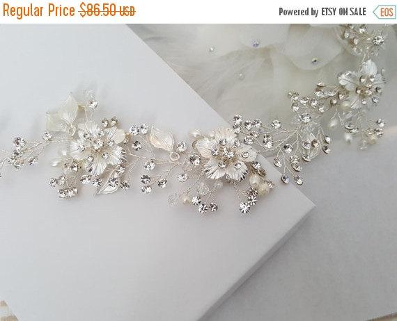 زفاف - HURRY-SALE 15% OFF Wedding Hair Vine, Silver Bridal Head Piece, Gold Bridal Hair Accessory, Hair Vine