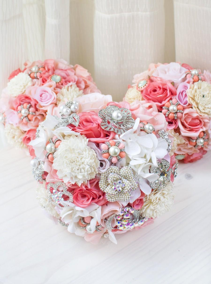 Coral Pink Brooch Bridal Bouquet, Jewelry Bridal Bouquet, Spring ...