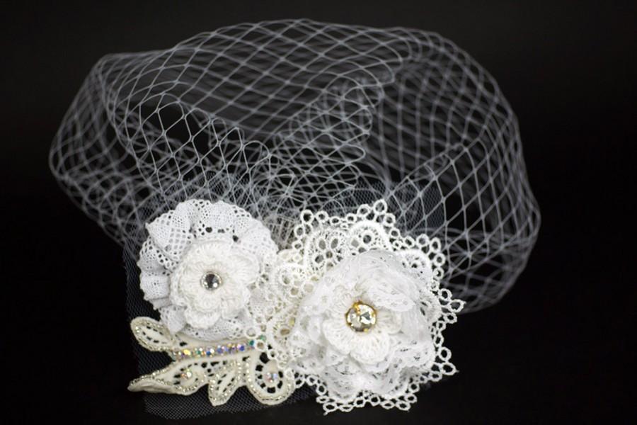 Wedding - Bridal headpiece-Wedding Headpiece-Bridal gift-Wedding Veil with flowers-Russian Birdcage Veil-Bridal Veil-Wedding accessories