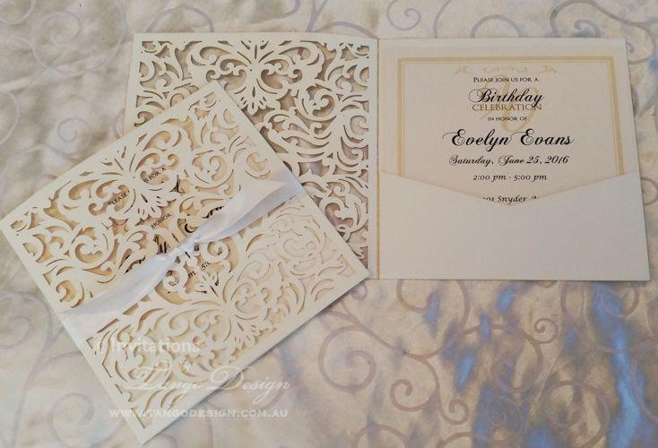 Wedding - Lasercut INVITATION. Laser Cut Wedding Invitations 50 Pearl Ivory  pocketfold vintage design. Bat mitzvah christening 1st birthday invites