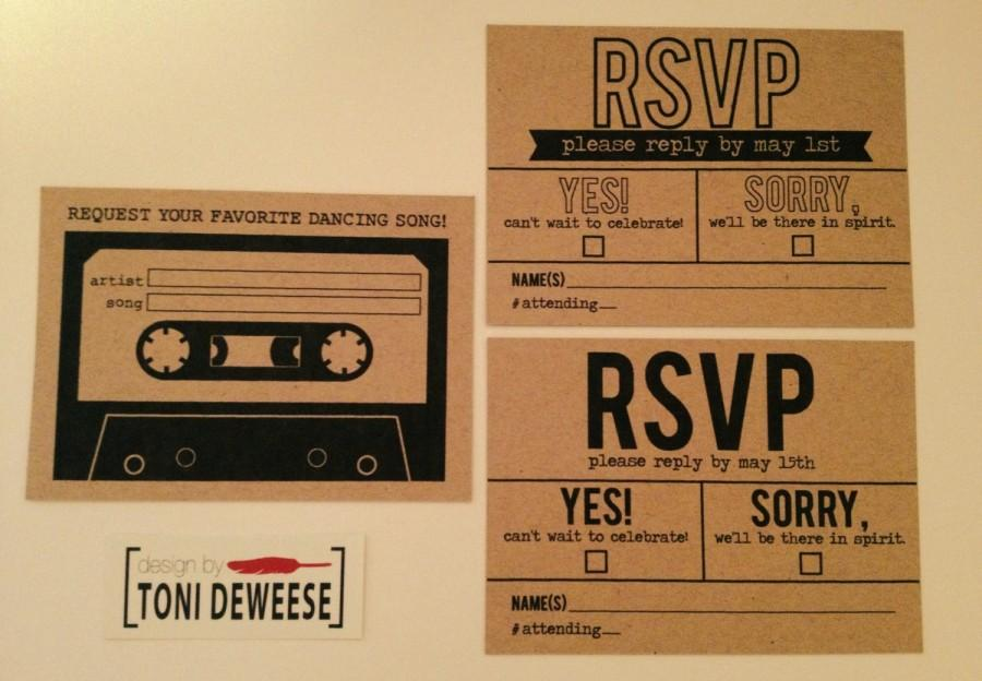 Hochzeit - RSVP & Song Request Mix Tape, Simple Kraft Paper