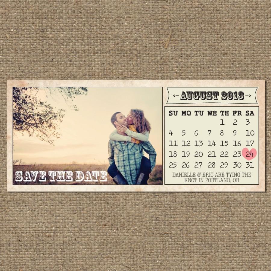 Mariage - printable vintage save the date calendar