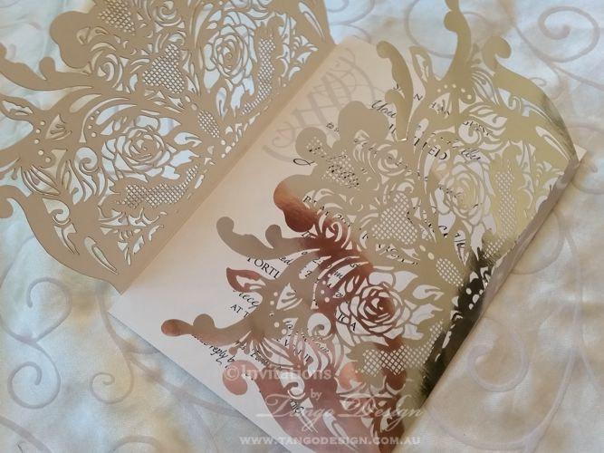 Lasercut Wedding Invitation, silver foil invitations gate silver card SET of 25 w rsvp cards. LASER CUT invitation Shimmer shine invitation