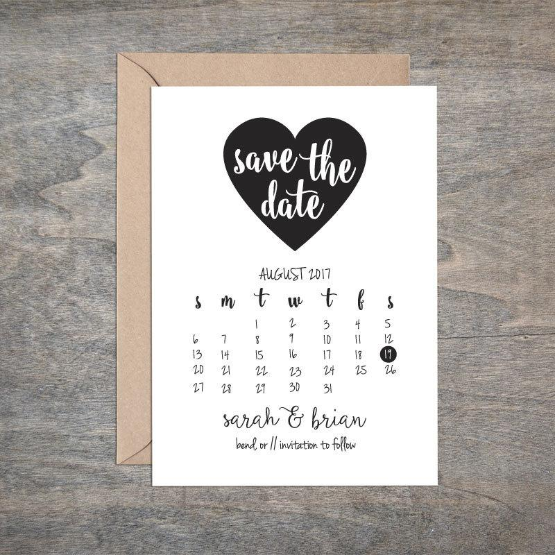 Mariage - Printable DIY Heart Save the Date Calendar