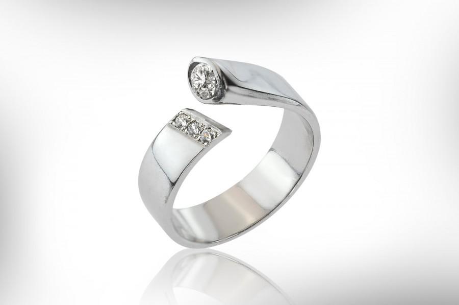 Mariage - 14k White Gold Engagement Ring. Diamond Engagement Ring, Solitaire Diamond Ring, Bridal Rings Set, Birthstone Engagement Ring, Free Shipping