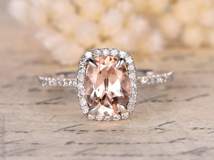 Mariage - Morganite Engagement Ring,6x8m Oval Cut Stone,14K White Gold Engagement Wedding Ring,Morganite Halo Diamond,Cushion Halo,Pave Diamonds band