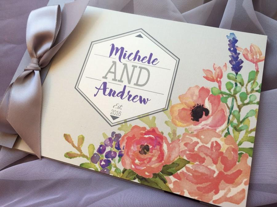 Mariage - Watercolor Bouquet Booklet Pocket Fold Wedding Invitation... SAMPLE
