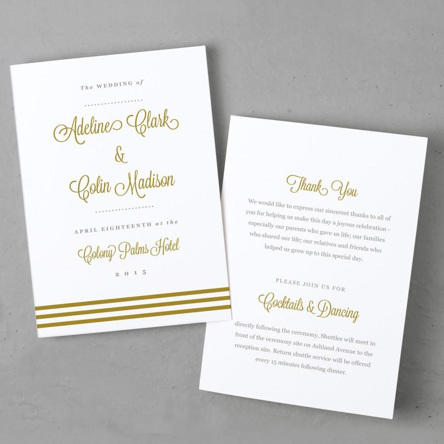 Mariage - Download and Print Folded Wedding Program Template