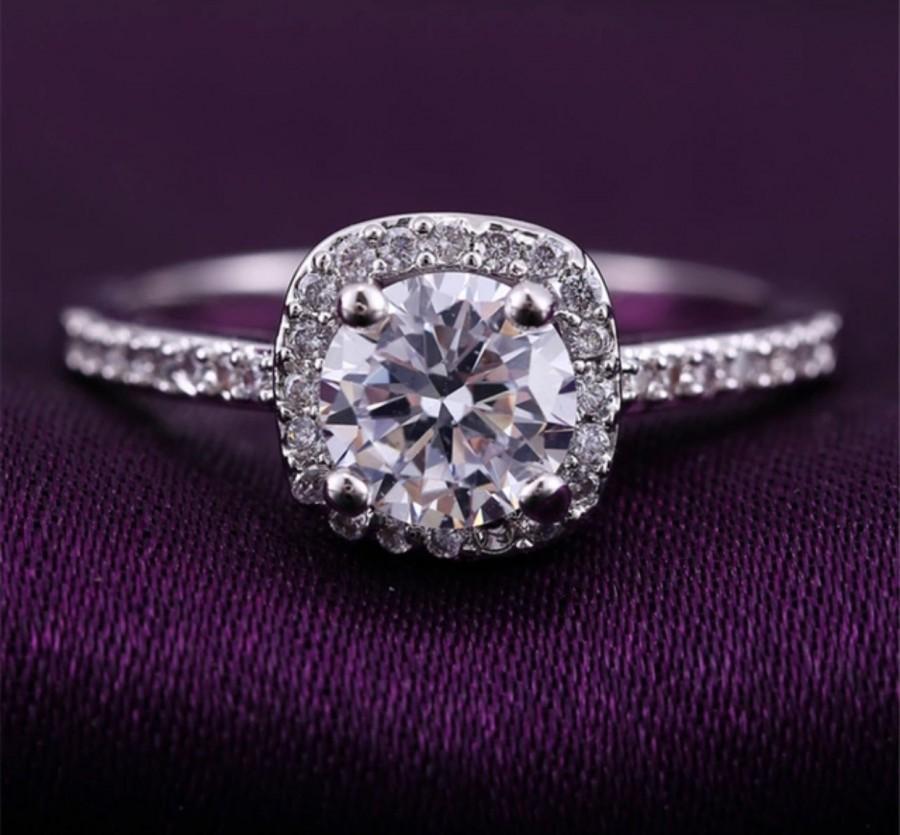 Mariage - Halo Engagement Ring Wedding Ring Sterling Silver Ring AnIversary ring Bridal Ring Promise Ring CZ Ring Cubic Zirconia Ring Engagement Rings
