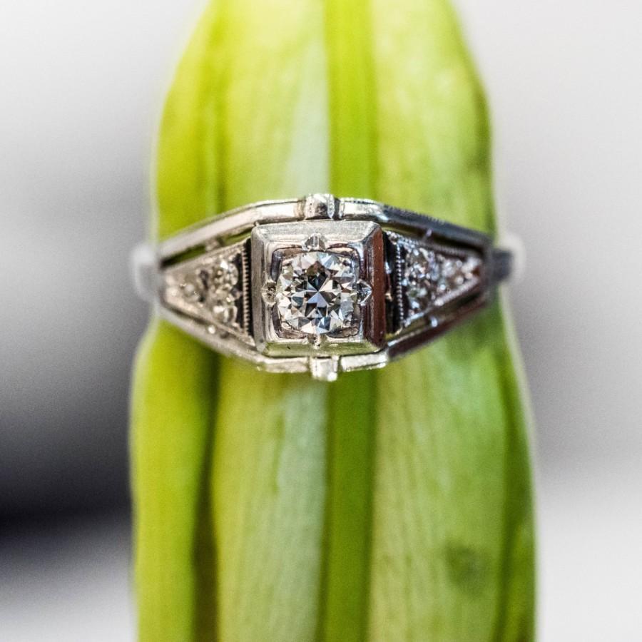 Mariage - Beautiful Antique Art Deco Platinum Old European Cut  Diamond Engagement Ring VEG #193