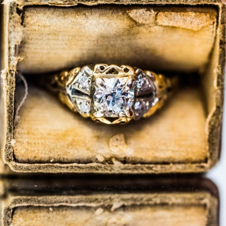 Mariage - Beautiful Antique Deco 14k Yellow Gold Old European Cut Diamond Engagement Ring VEG #194