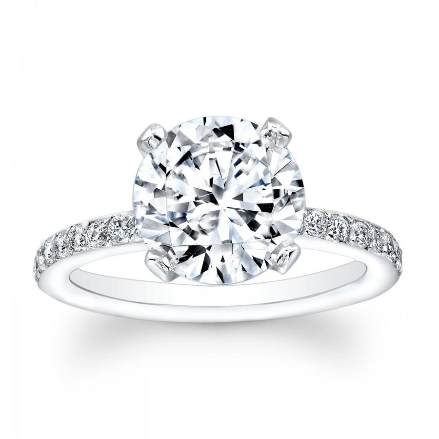 Свадьба - Ladies 14kt white gold antique diamond engagement ring 0.30 ctw G-VS2 with 3ct natural Round White Sapphire