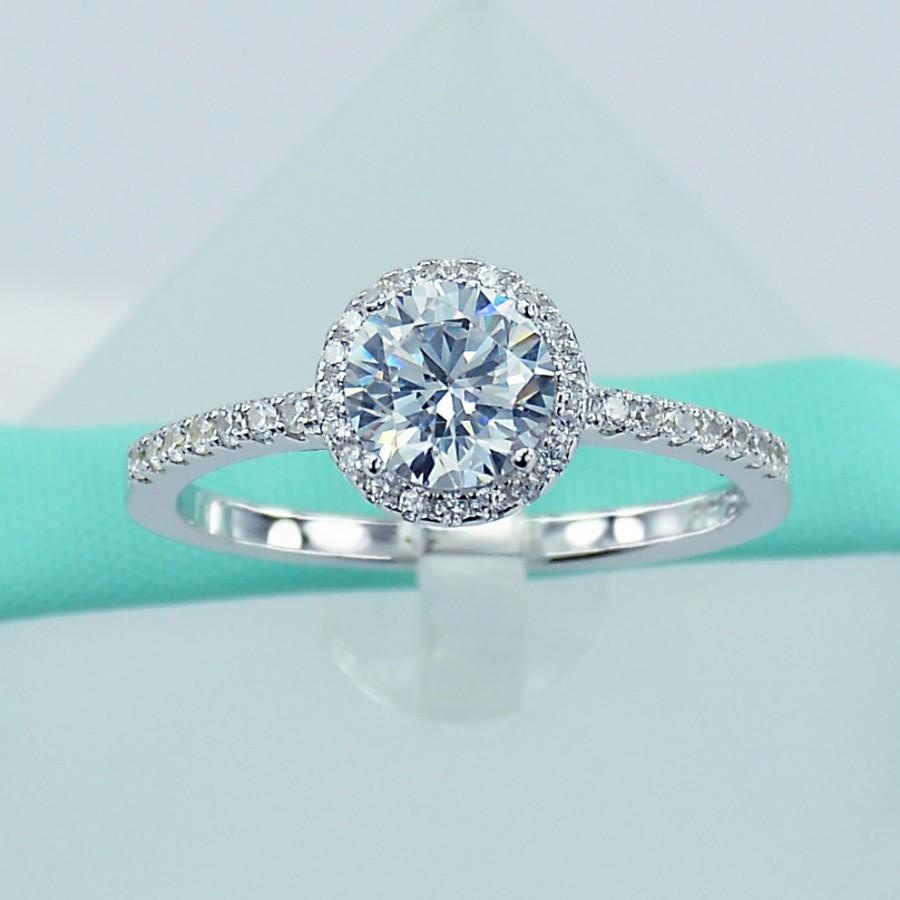Mariage - Platinum Plated 925 Sterling Silver Simulated Diamond Cubic Zirconia CZ Women Engagement Promise Ring