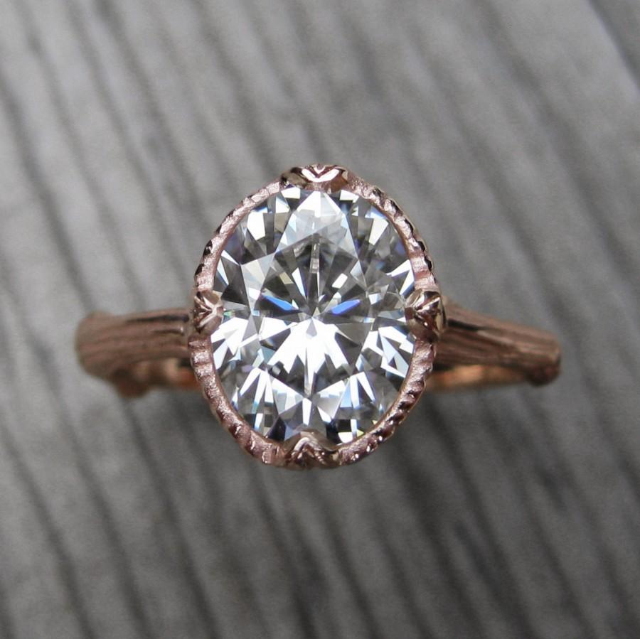 Mariage - Oval Moissanite Branch Engagement Ring: White, Yellow, or Rose Gold; 2.1ct Colorless Forever One ™