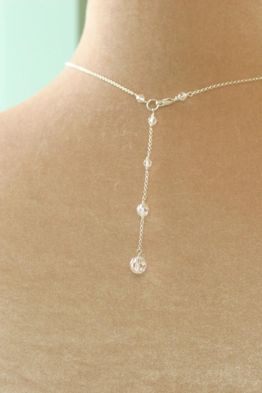 Mariage - Back drop necklace, back drop bridal necklace, Swarovski crystal necklace wedding - Nancy