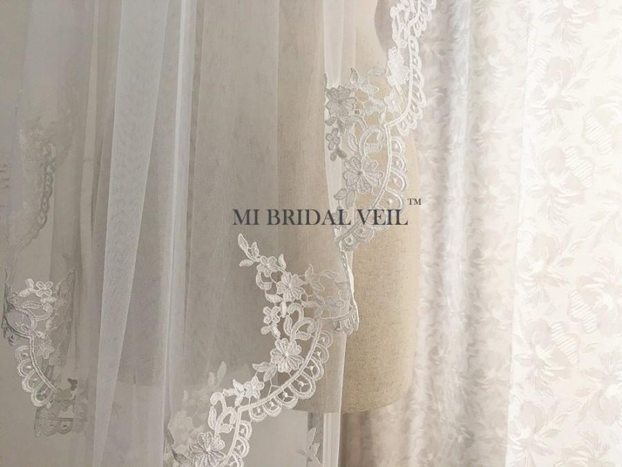 Wedding - Venice Lace Veil, Rose Lace from Elbow, Bridal Veil, Custom Single Tier Veil in Fingertip, Waltz, Chapel, Cathedral Veil