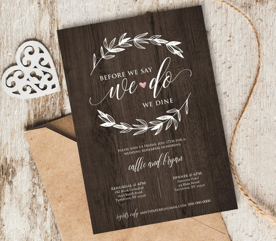 Mariage - Wedding Rehearsal Dinner Invitation, INSTANT DOWNLOAD, Printable Rehearsal Dinner Invite, Editable PDF Template, Digital Download,