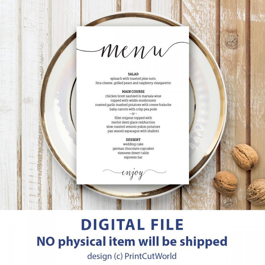 wedding menu template 5x7 rustic wedding menu printable instant