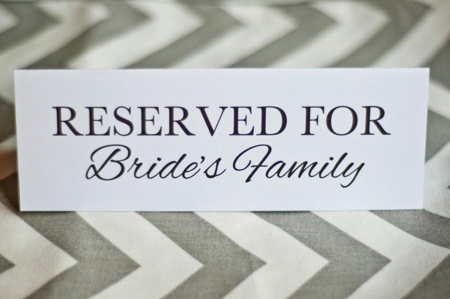 5 X 7 Reserved For Bride Or Groom\'s Family Wedding Table Cards ...