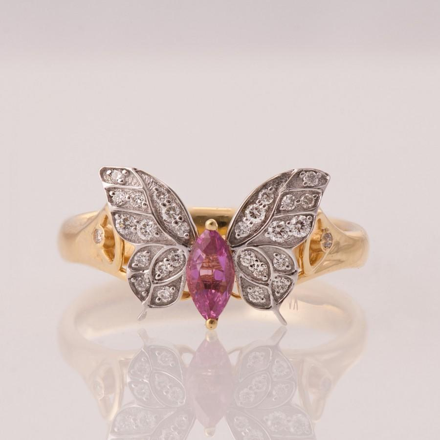 butterfly engagement ring 14k gold and pink sapphire engagement ring marquise ring unique engagement ring pink sapphire ring art deco - Butterfly Wedding Rings