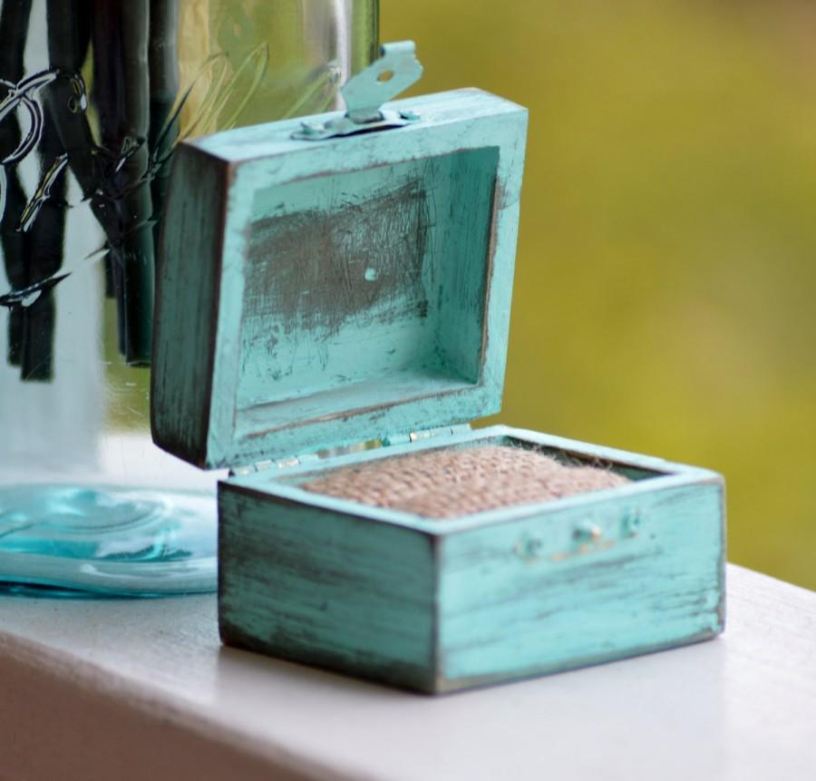 Wedding - Mint engagement ring box, shabby chic wedding ring box, rustic pillow alternative, distressed, proposal