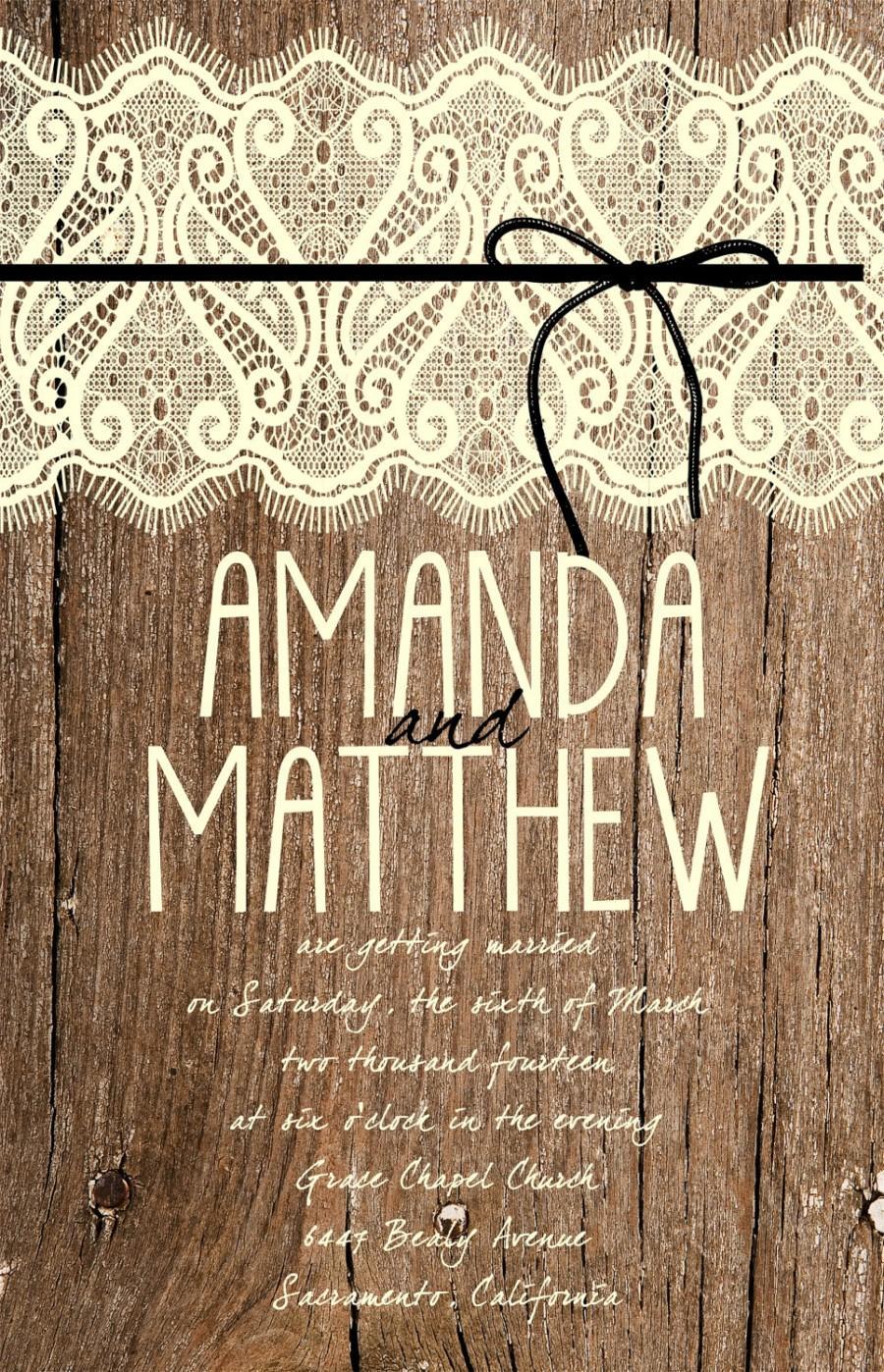 Mariage - Custom Western, Wood and Lace Wedding Invitation