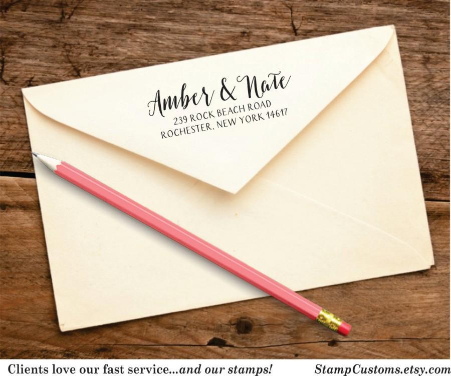 Wedding - Personalized Address Stamp  - Custom Return Address Stamp - Wedding Calligraphy Address